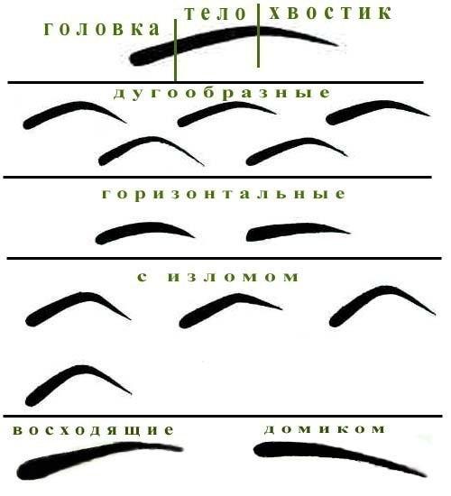 Схема бровей